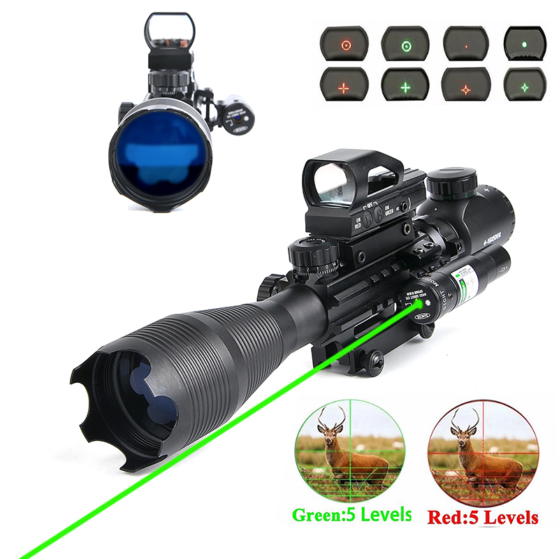 Rifle Scope Combo C4-16x50EG Hunting Dual Illuminated with Laser Sight 4 Holographic Reticle Red/Green Dot for 22&11mm Rail holographic laser sight scope reflex 4 red green dot reticle picatinny rail 20mm for ar rifle 12ga shotgun airsoft hunting
