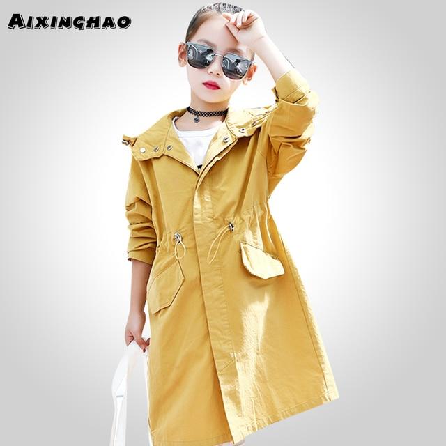 Aixinghao/Длинные куртки для девочек, Весенняя детская ветровка для девочек, однотонные пальто и верхняя одежда для мальчиков и девочек, Подростковая детская одежда, 12, 14, 15