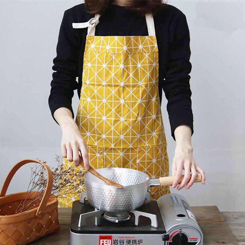 Eenvoudige Zakka Katoenen Doek Keuken Koken Schort Overgooier Dikker Zwart Wit Geometrische patroon Ins Schoonmaken Bakken Tools SBY8057