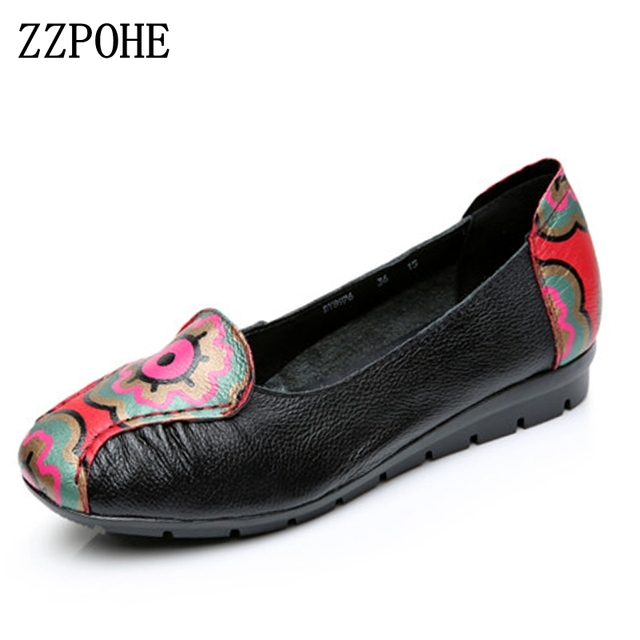 ZZPOHE Spring leather mother flat shoes middle-aged mouth soft bottom fashion shoes casual comfortable national wind women shoes