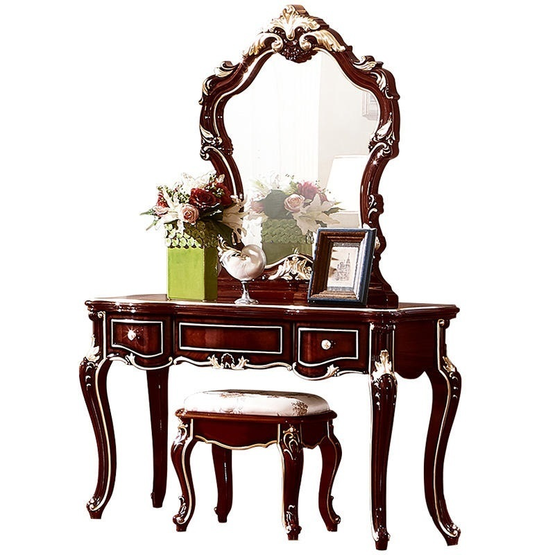 American furniture bedroom dresser vanity makeup mirror combination dressing table bedroom home furniture dresser table with 2 drawers mirror and stool neoclassical style kd packaged wooden carved materials