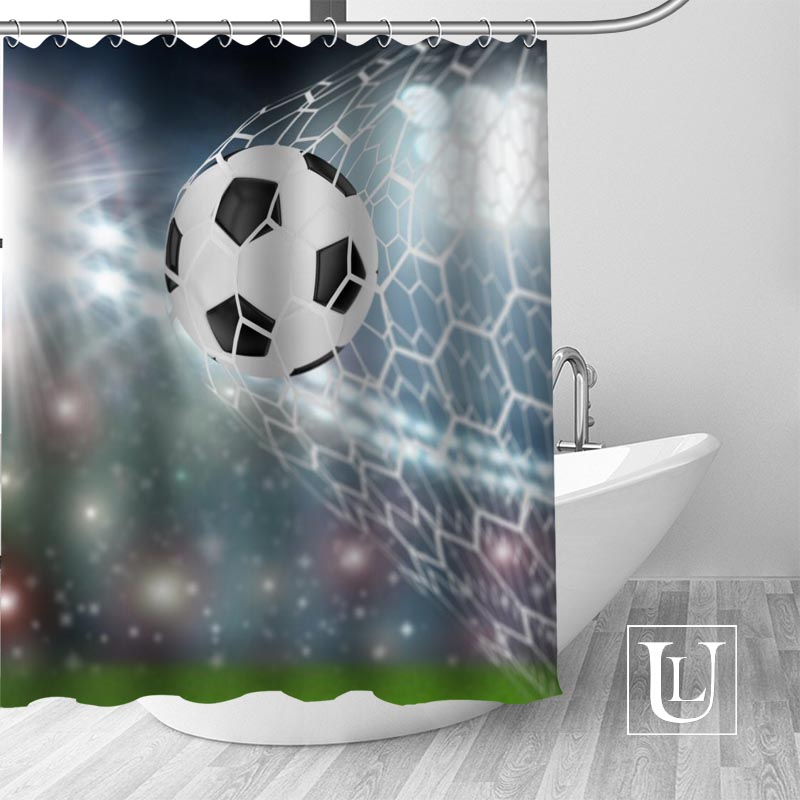 Us 16 49 50 Off High Quality Custom Soccer Shower Curtain Polyester Fabric Bathroom Hooks Mildew Resistant Decor In Curtains