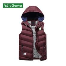 Wildgeeker Для мужчин без рукавов куртка 2017 Зима сплошной толстый жилет 4 цвета Для мужчин жилет на молнии пальто Теплый жилет плюс Размеры
