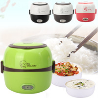 1.3L Portable Electric Rice Cooker Insulation Heating Electric Lunchbox 2 Layers Steamer Automatic Food Container Box Dinnerware