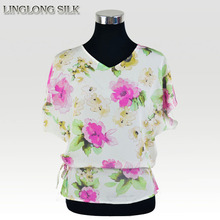 Silk Blouse/100% Mulberry Silk Crepe De Chine/2015 New Fashion Summer Style Desigual Women Blusas Femininas