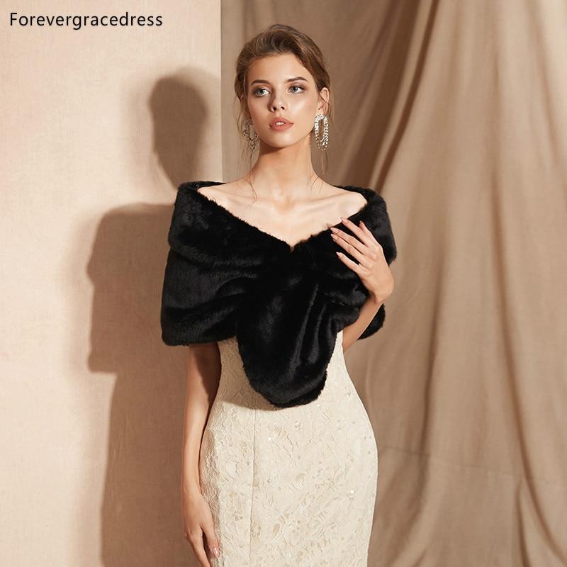 Forevergracedress 2019 Elegant Soft Autumn Winter Faux Fur Bride Wedding Wrap Bolero Jackets Bridal Coats Shawls Scarves PJ309