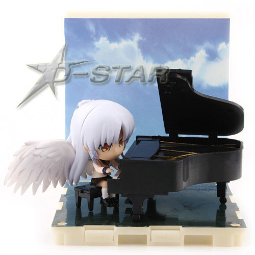 Free Shipping Cute Mini AngelBeats Angel Beats Tachibana Kanade Playing Piano Suite Clay Doll Ornaments Action Figure Model Toy