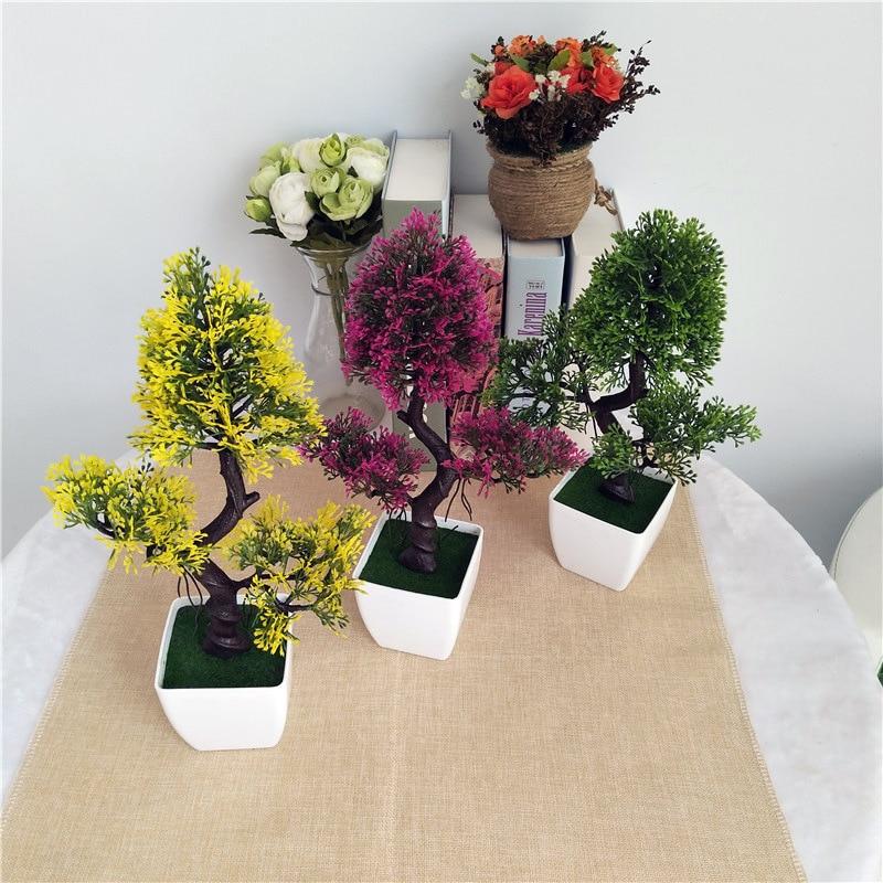 분재의 분재 시뮬레이션은 화분에 오신 것을 환영합니다 소나무 인공 꽃 틀린 녹색 화분에 심은 식물 홈 장식