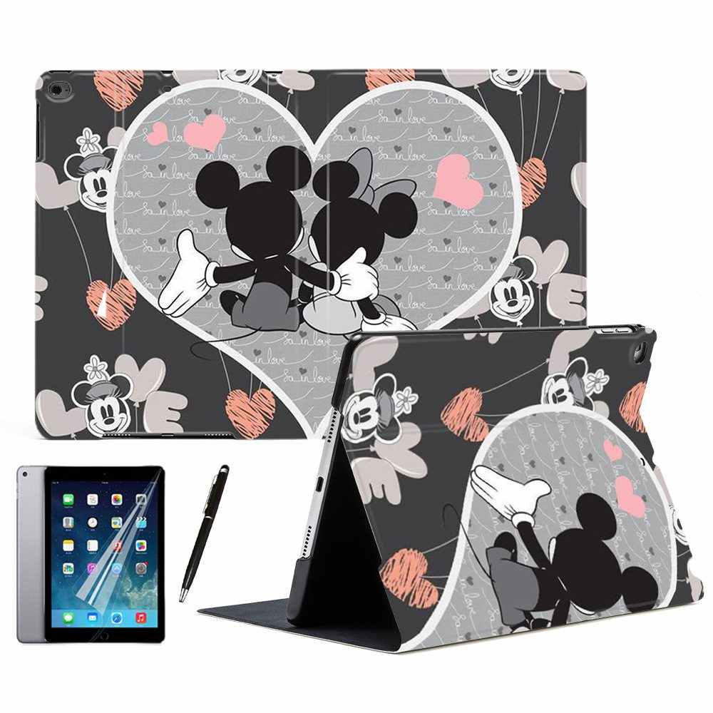 "Para iPad Air 1 2 3 9.7 ""2017 2018 2019 10.5"" PRO Mini 4 5 Casal Dos Desenhos Animados Mickey rato Minnie Amor Estande Inteligente Tablet Case Capa"