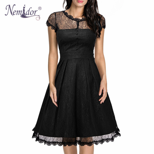 Nemidor 2019 Hot Sales Women Vintage O-neck A-line Swing Dresses Elegant Short Sleeve Midi Party Retro Lace Dress