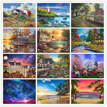 Diamond Embroidery Landscape Painting 5D DIY Diamond Painting Seaside Full Round Diamond Landscape Picture Rhinestone Mosaic 5d diamond painting landscape waterfall diy full round diamond embroidery mosaic picture rhinestone home decor gift