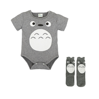 Toddle Baby Triangle Romper Jumpsuit Cotton Cartoon Totoro With Stockings Summer Newborn Baby Romper Sets Clothes For 0-2T LM99