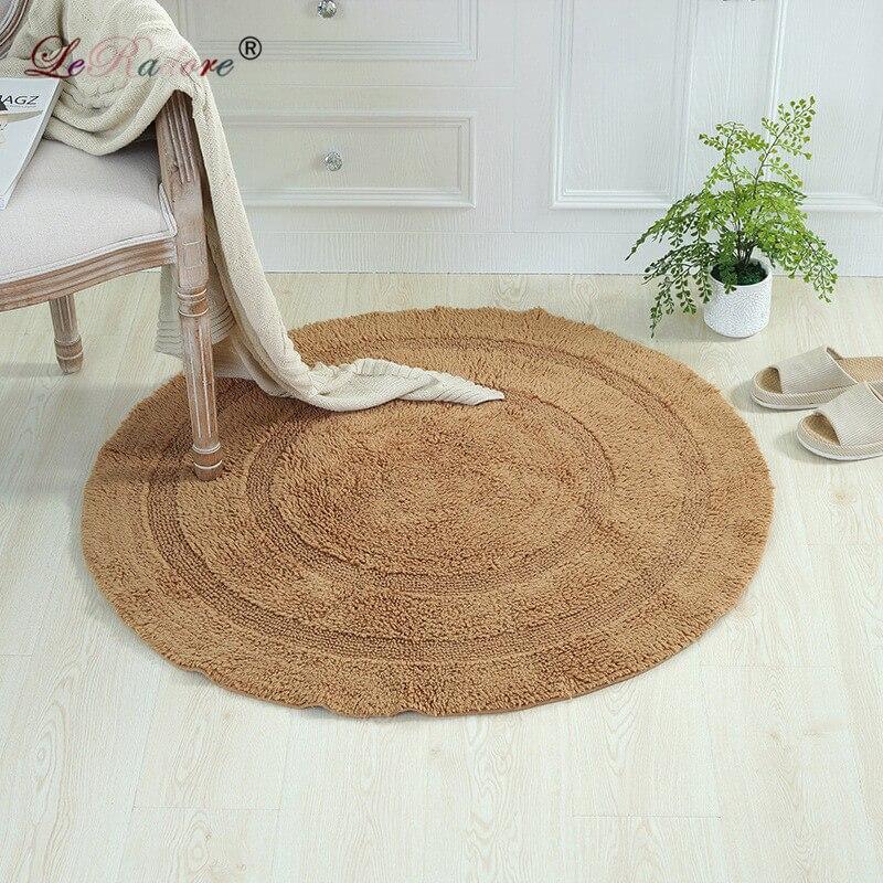 LeRadore Super doux solide tapis de sol rond tapis pur coton tapis pour bureau salon bébé pépinière anti-dérapant Tapete