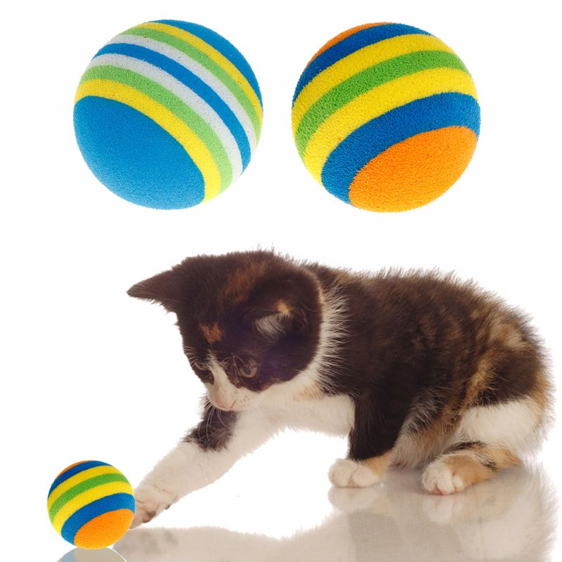 10 Pcs/Set Rainbow Ball Pet Toys EVA Soft Interactive Cat Dog Puppy Kitten Play Funny Colorful Gifts Chew Balls Pets Products(China)