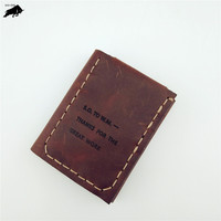 ZYD-COOL The Secret Life Of Walter Mitty Vintage Handmade Natural Cowhide Leather Wallet Wallets Purse Genuine Leather Wallet