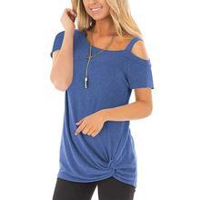 2019 New Yfashion Women Short-sleeved One-shoulder Sling Off-shoulder T-shirt