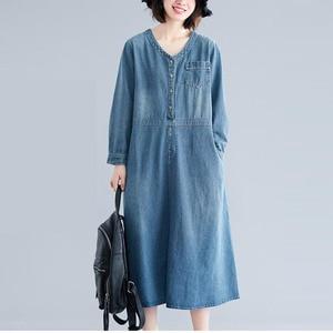 Image 2 - Johnature Autumn Korean Solid Color Patchwork Pockets V neck Cotton Jean Dress 2020 New Casual Vintage Long Sleeve Women Dresses