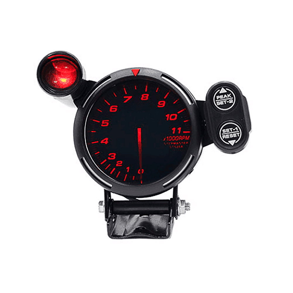 """3.5"""" Tachometer Gauge Kit White Led 11000 Rpm Meter With Adjustable Shift Light+stepping Motor Black Smoothing Circulation And Stopping Pains"""