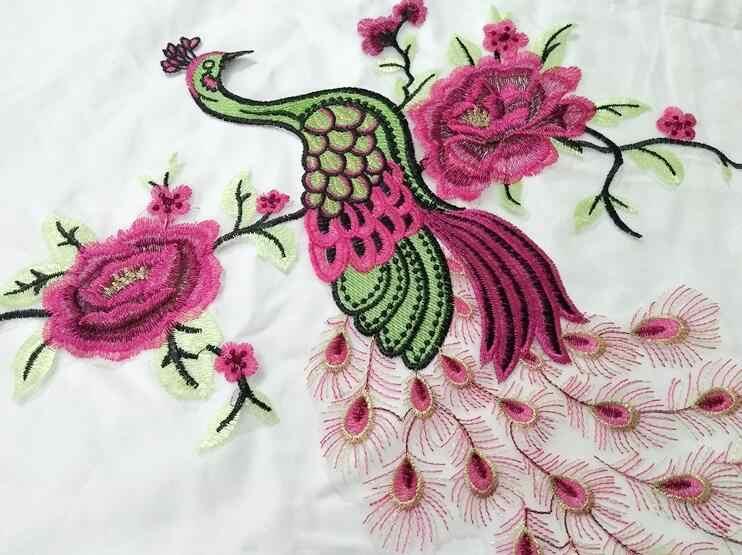 Marca grande azul Pavo Real bordado encaje coser parches para ropa apliques vestido de boda costura jeans abrigo mujer parche ropa