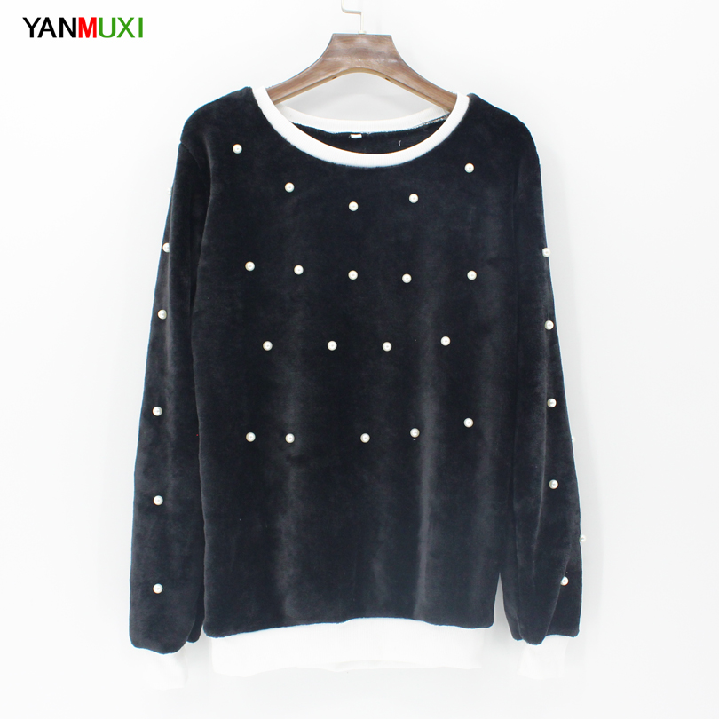 Women Winter Warm Blouses Long Sleeve Solid Beading Shirt
