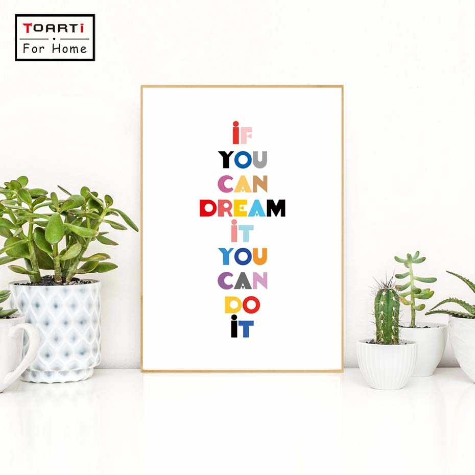 If You Can Dream It Quote Colourful Canvas Art Print Painting Poster Nursery Modern Kids Living Room Home Decoration