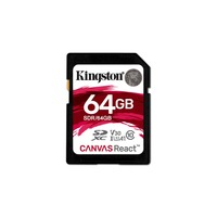 Kingston Technology SD Canvas React, 64 GB, SDXC, Class 10, UHS I, 100 MB/s, Black