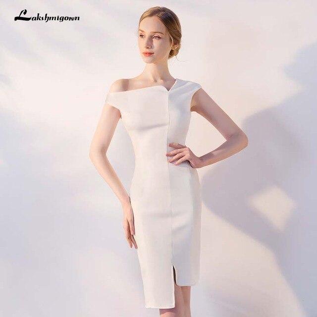 1227729761ef One Shoulder Short Bridesmaid Dresses white Black burgundy dresses Vestido  De Festa De Casamen Formal Party Prom Dresses