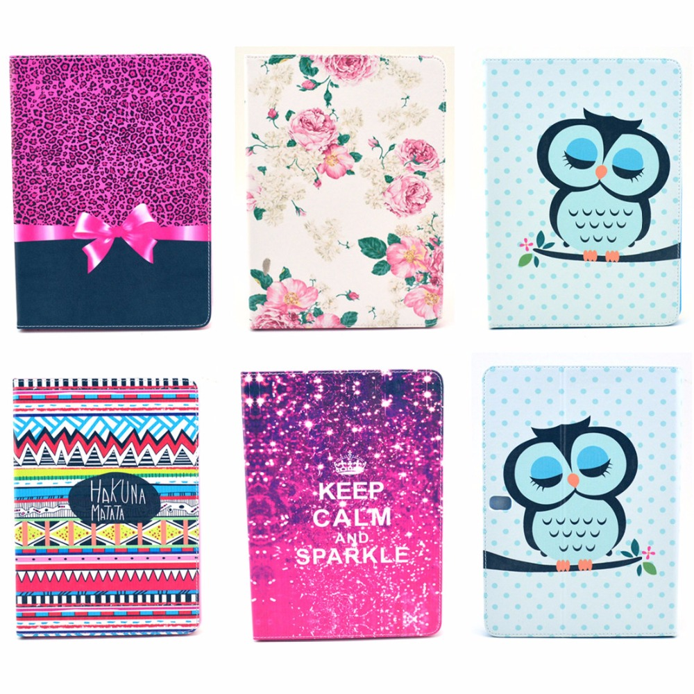 Fashion Rose Owl Pattern Wallet Flip PU Leather For Samsung Galaxy Note 10.1 2014 Edition P600 P601 Tablet Shell Protector Funda