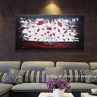 Hand Painted Abstract Palette Knife Painting A Big Red Flower Oil Picture Wall Decor Art Set