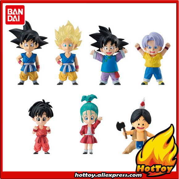 100% Original BANDAI ADVERGE EX 02 Toy Figure Full Set 7 Pcs Goku Goten Trunks Pan Bulla Upa from Dragon Ball