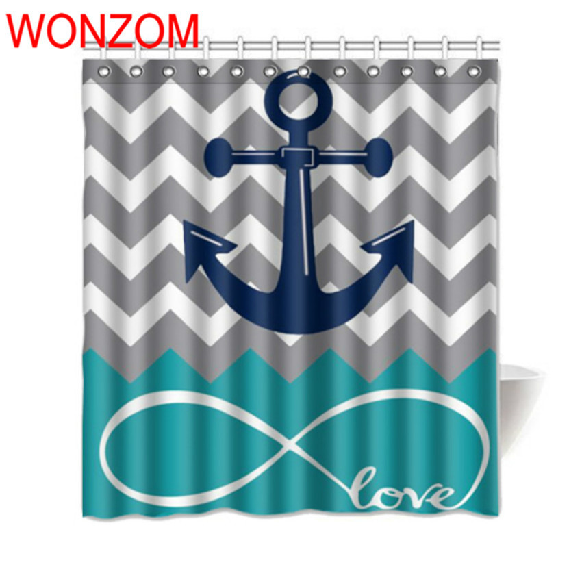 WONZOM Polyester Fabric Anchor Wave Shower Curtains with 12 Hooks For Bathroom Decor Modern 3D Bath Waterproof Curtain