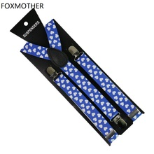 FOXMOTHER New 1 inch Wide Blue Color Y Shape Clip On Elastic Heart Love Suspenders Braces Women Mens