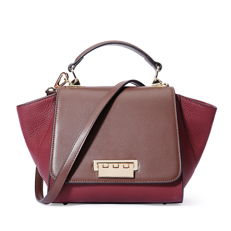 2018 New Collection Patchwork Panelled Trapeze Bag for Women Handbag Leather Cover Bag Cowhide Shoulder Bag Famous Brand Bag famous collection rectangular ext famous collection table in darkbrown finish