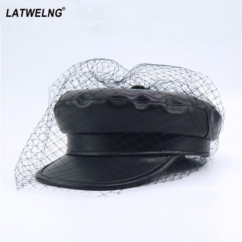 New Luxury Brand Net Leather Octagonal Cap Women Black Military Hat Ladies Flat Visor Sun Hat Vintage Newsboy Caps Wholesale
