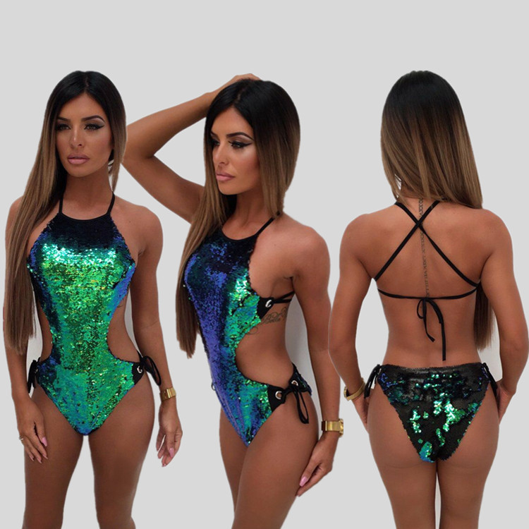 Hirigin 2018 New Women Sequins One-Piece Swimsuits Swimwear Bandabe Backless Sexy Slim Paded Swimwear A/B Size Be Able Wear