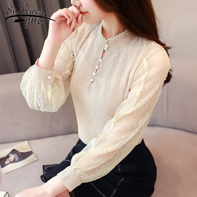 womens tops and   blouses   2018 Long Sleeve women   shirts   fashion lace chiffon   blouse     shirt   plus size tops lace women   blouse   1704 50