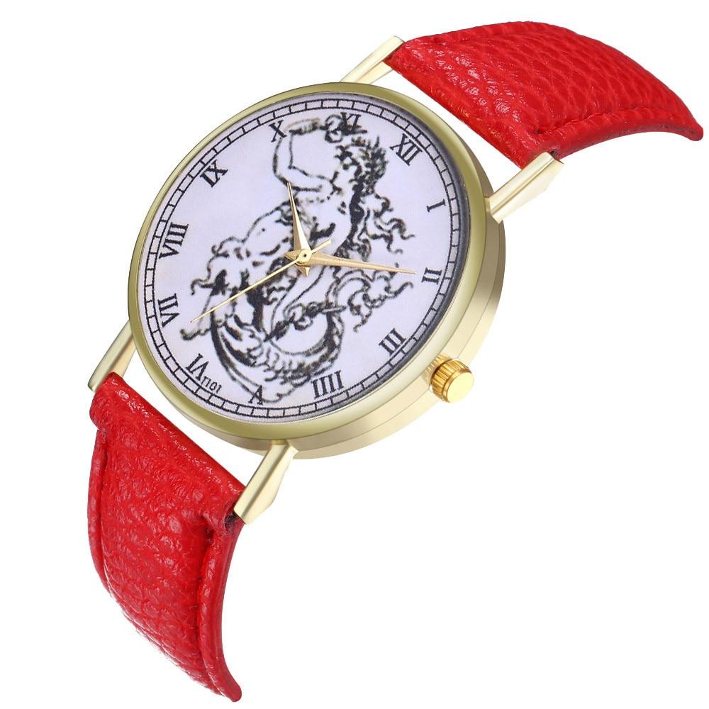 Vintage Women Watch Mermaid Illustration Leather Watch Fashion Birthday Wedding Casual Strap Watch Reloj Mujer Marble Dial