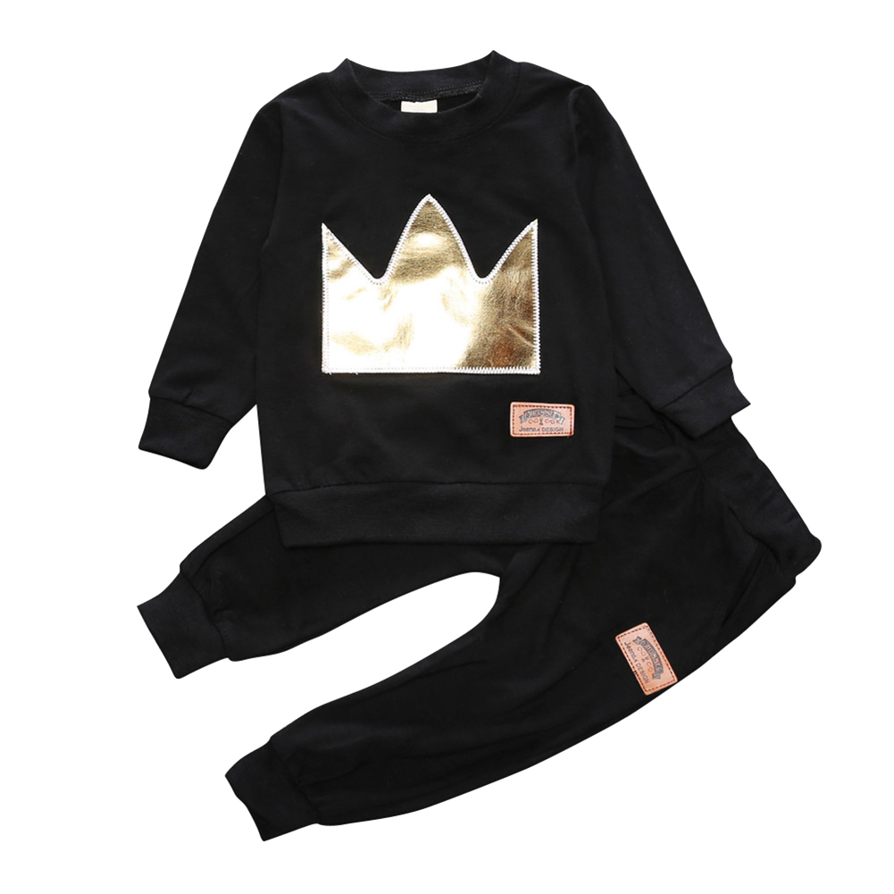 Toddler Baby Boy Girls Crown Tops T-shirt+Leggings Outfits Set Tracksuit Clothes