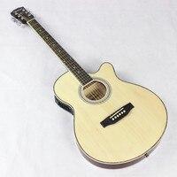 Fina Corpo Electro Aço-Corda Flattop Guitarra Elétrica Acústica Jumbo Cutaway Guitarra 6 Cordas Luz Vermelha Do Auditório 40 Polegada
