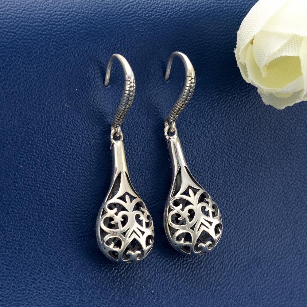 BELLA Fashion Art Deco 925 Sterling Silver Hollow Flower Bridal Earrings Dangle Earrings Oxidized Wedding Jewelry Party Gift silver hollow geometric dangle earrings