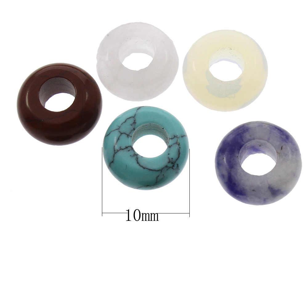 Lote al por mayor de 5 uds cuentas europeas Rondelle agujero grande 10x5mm DIY hacer cuentas sueltas para pulseras con piedras naturales europeas