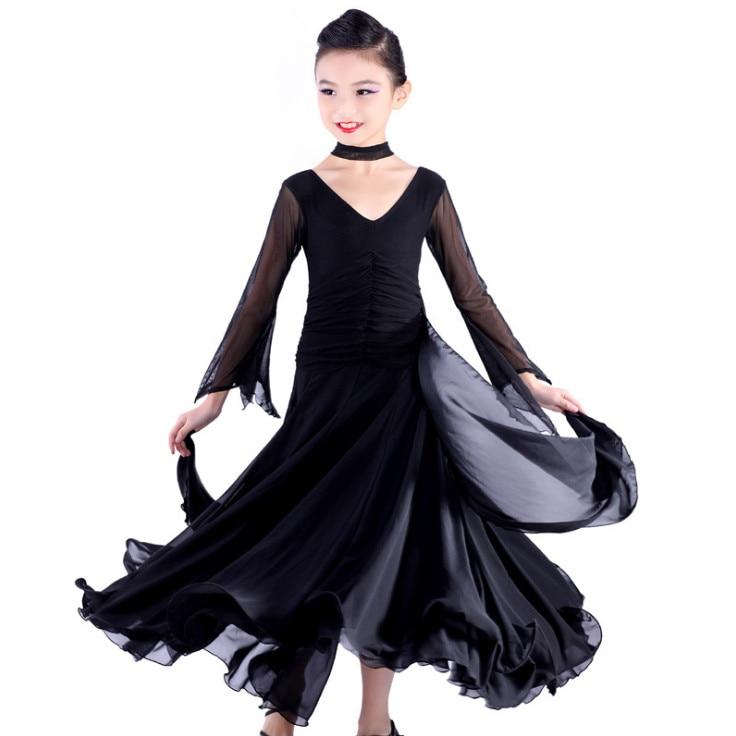 Chiffon Long Sleeves Standard Competition Ballroom Dance Dress Fo Girl Kids One Piece Child Modern/Waltz/Latin Dancing/Dancewear