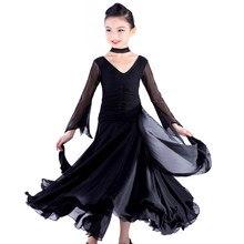Chiffon mangas compridas vestidos de competição de dança de salão padrão dress fo menina crianças one piece criança moderna/waltz/dança latina/dancewear
