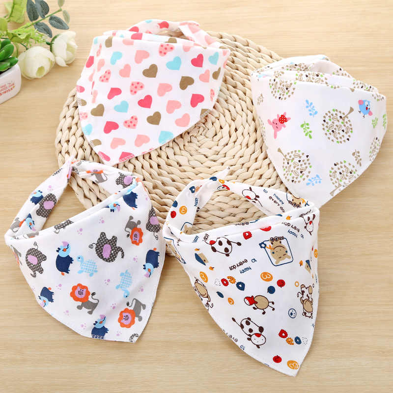 1pc Baby Bibs Cotton Infant Feeding Towel Bibs Cartoon Newborn Girls Boys Toddler Triangle Scarf Bandana Cute Cartoon Burp Cloth