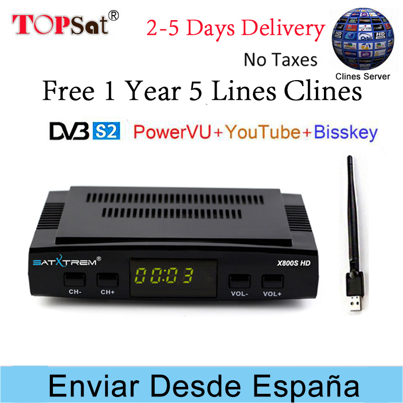 Receptor DVB-S2 Satellite TV Receiver Decoder + Europe cccam cline for 1 year spain +USB WIFI support BISSKEY PK V7 HD decoder цена