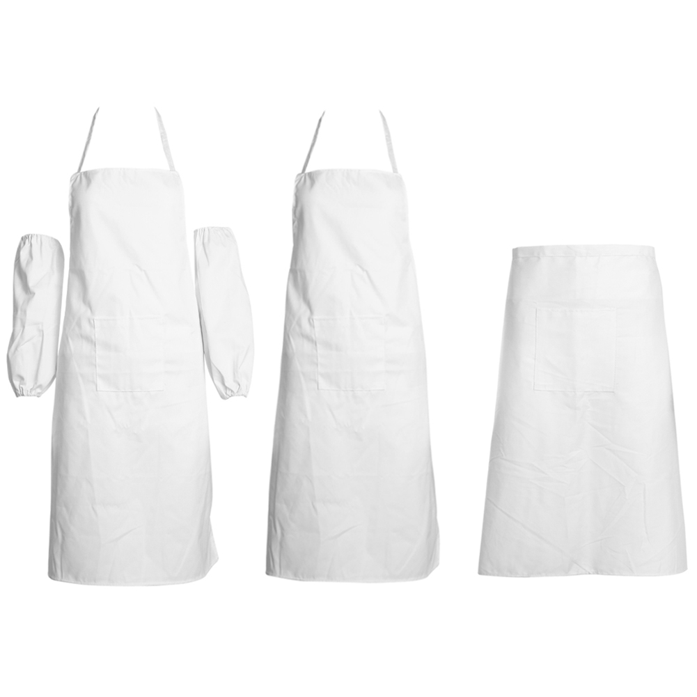 White aprons for sale - Universal Unisex Bib Apron With Pockets Chef Restaurant Cooking Aprons Restaurant Working Kitchen Brief White Aprons