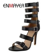 ENMAYER Summer New Fashion Women Sandals Uper High Top Chunky Heel Lady Shoes Big Size  Female Footwear Cover thin heel ZYL201