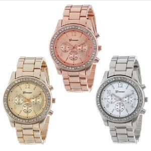 حار المبيعات جنيف العلامة التجارية الذهب و ساعة فضية المرأة أزياء السيدات كريستال اللباس المعصم كوارتز Relogio Feminino reloj موهير