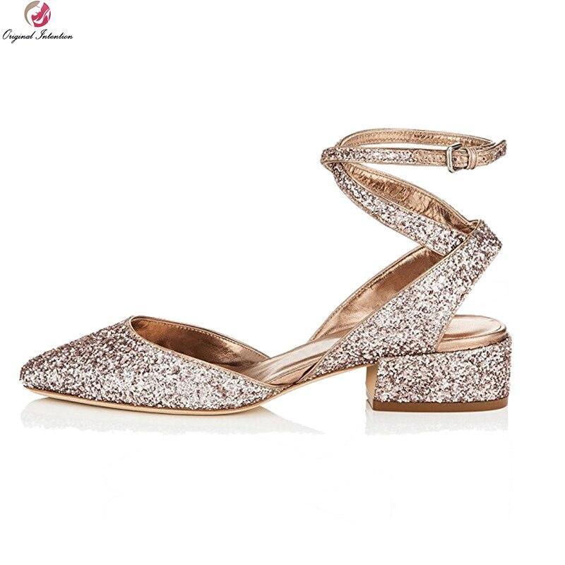 Original Intention Elegant Women Sandals Bling Glitter Round Toe Square Heels Sandals Gold Silver Shoes Woman