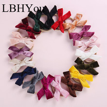 12pcs/lot Girls Bows Velvet Hair Clips 10*4 cm Lovely Knotbows Hairpins For Woman Accessories Sweet Barrettes
